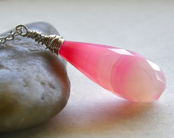 Pink Stripe Chalcedony Necklace, Neon Bright Pink Necklace, Modern Stone Pendant Necklace
