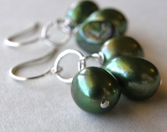 Green Pearl Earrings, Dainty Green Drop Earrings, Petite Pearl Earrings