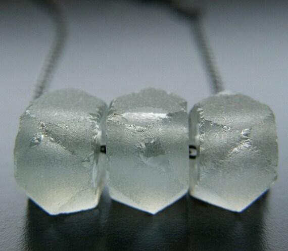 Pale Aqua Recycled Glass Necklace, Eco Friendly Modern Necklace, Beach Jewelry