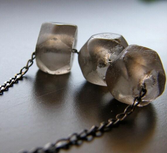 Smokey Recycled Glass Necklace, Eco Friendly - Night Sky