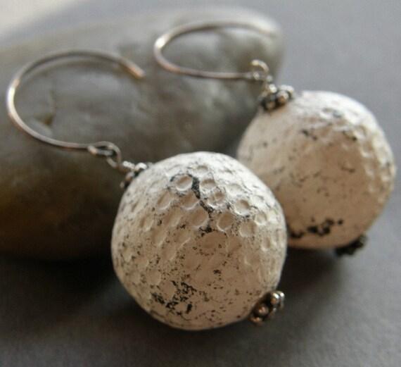 Whitewash Vintage Lucite Earrings, Shabby Chic Earrings