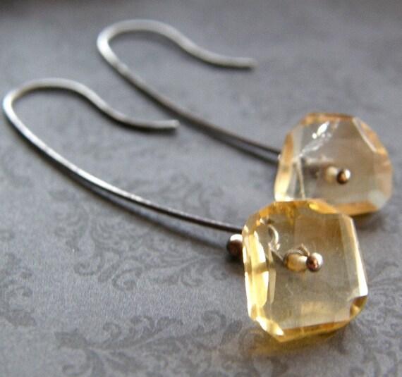 Gold Nugget Citrine Earrings, Simple Gold Earrings