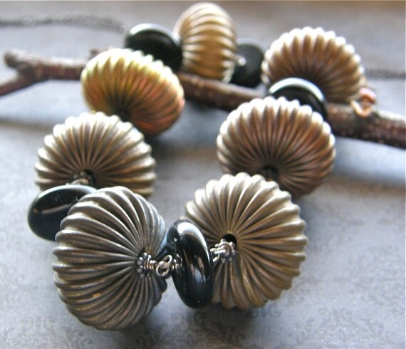 Extra Long Brass Statement Necklace, Vintage Corrugated Brass Bead, Onyx Necklace, Long Chain Necklace, Boho Necklace