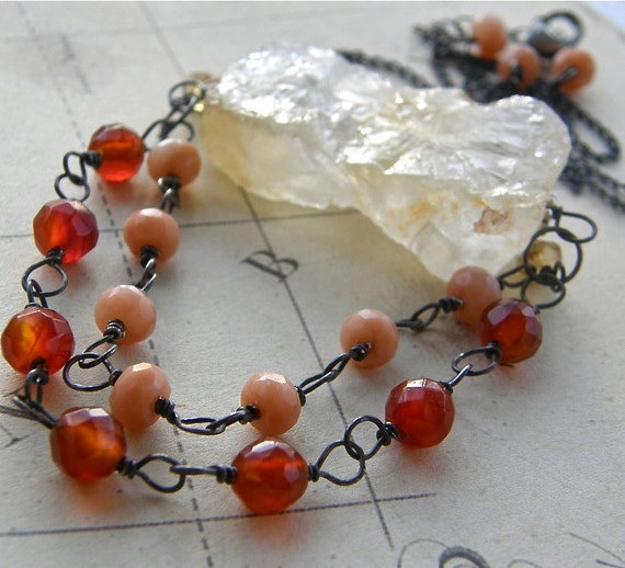 Big Bold Rough Cut Citrine Nugget and Carnelian Statement Necklace, Stone Pendant Boho Jewelry