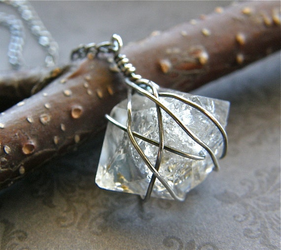 Herkimer Diamond and Sterling Silver Necklace, Rough Cut Gem Necklace - Glam Rock