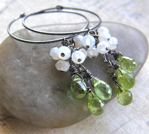 Peridot Drop Earrings, Silver Hoop Earrings, Green Chandelier Earrings