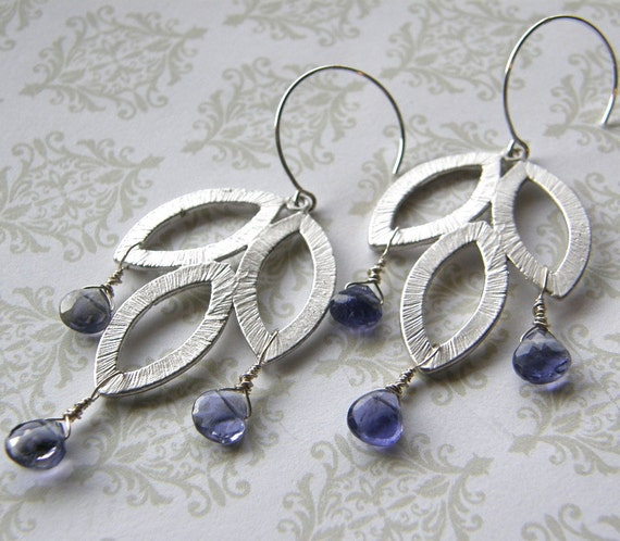 Silver and Blue Leaf Earrings, Periwinkle, Lavender Earrings, Silver Leaf and Blue Indigo Iolite Earrings