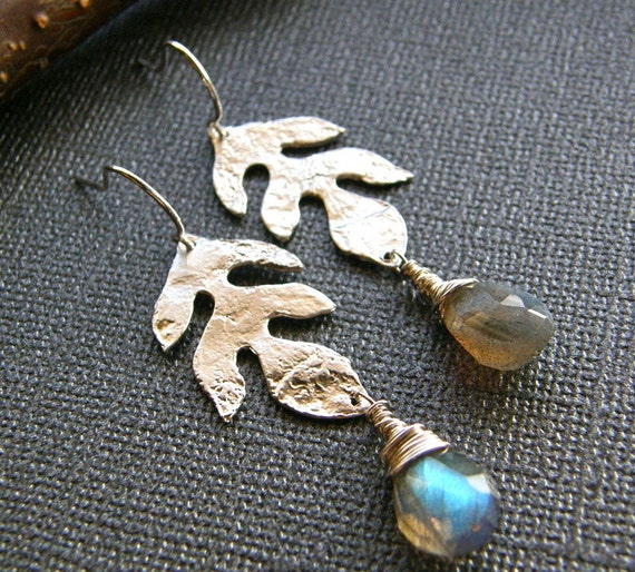 Silver Leaf and Labradorite Earrings, Branch, Nature Earrings, Labradorite Drop Earrings