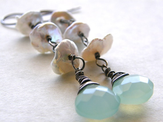 Keshi Pearl and Aqua Blue Chalcedony Earrings, Bridal Jewelry, Pearl Earrings, Stone Teardrop Earrings