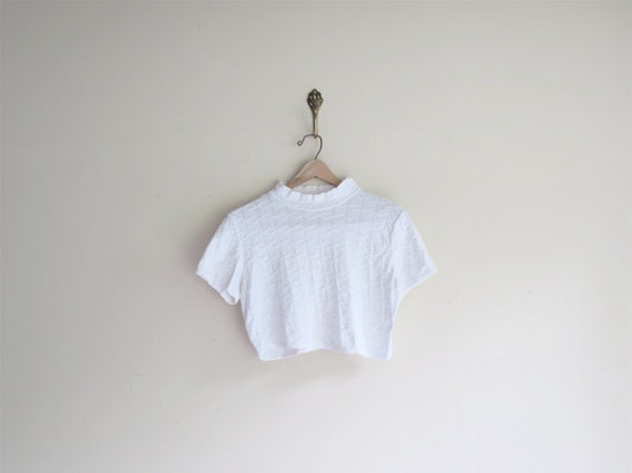 SALE White TEXTURED Crop Top