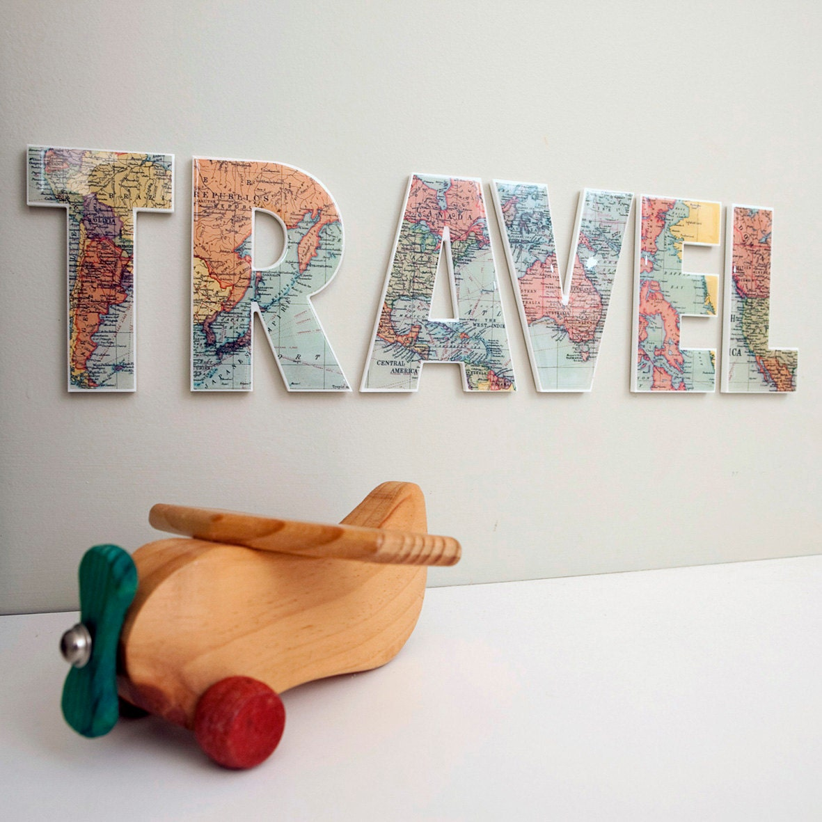 Travel decor letters wall feature inspirational word Wall letters decor