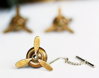 Vintage Brass Airplane PROPELLER Tie Tack- Aviator, wedding,groom gift,brothers,father's day,Steampunk