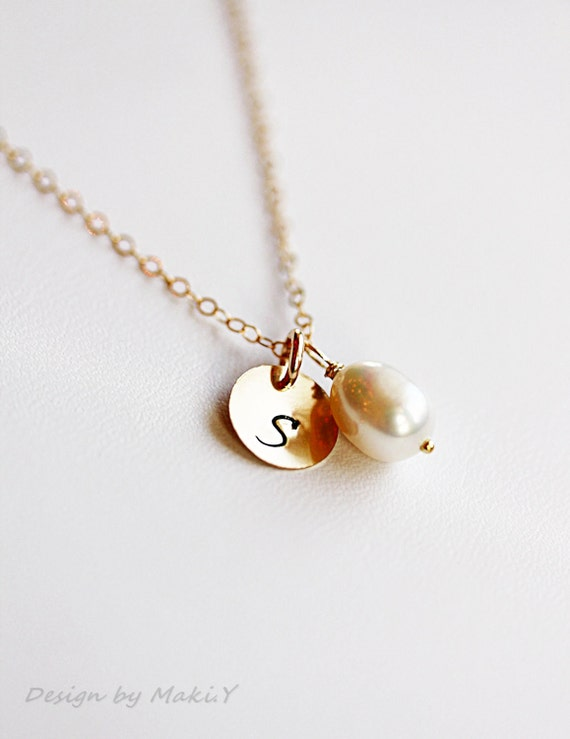 Initial necklace-Simple Monogrammed with Pearl-Custom Initial Gold Filled or Sterling silver,June,Wedding,Bridesmaid gifts,gift for mom