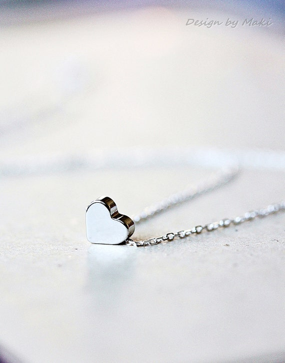 Simple Mini Heart Necklace on Sterling Silver Chain-for Mother's Day,Wedding,Bridesmaid gifts, fashion,Mom's,Handmade by Maki Y design