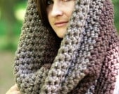 The Colossal Cowl.....Cowl/ Wrap/ Hood /Infinity Scarf Barley and Wood Colors