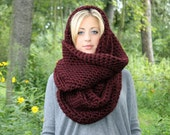 The Yukon Cowl...Thick Warm Infinity Scarf in Black Cherry Claret