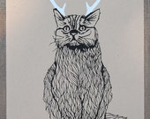 Last One - Wild Catalope - Two Color Funny Cat with AntlersScreen Print - Editon of 100 - by Bark Decor