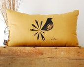 Mod Bird Pillow - in Mustard Yellow - by Bark Decor