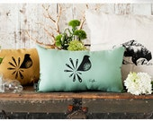 Mod Bird Hand Printed Pillow - in Patina - by Bark Decor - As seen on ABC's Better With You