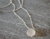 Rough Cut Rose Quartz Necklace - by Bark Decor