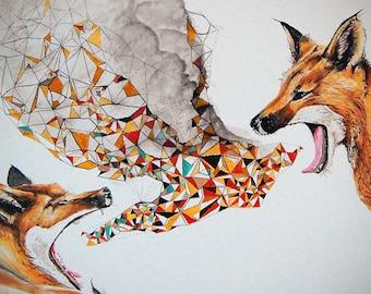 Smoke Signals    Fox Modern Print, contemporary home art, fox print, fox art, wildlife print, open Edition Giclee Print    Size 18 x 14