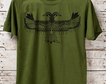 Reverie || unisex olive t-shirt, tribal style tshirt, thunderbird tshirt, jersey tshirt, made in usa || by Simka Sol