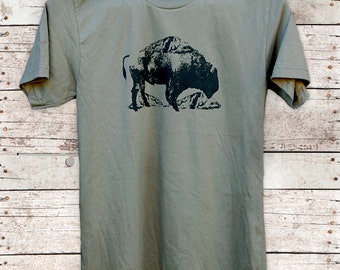 Mountain Buffalo || Bison print tshirt, unisex tshirt, buffalo tshirt, nature lovers, yosemite, yellowstone, camp style || by Simka Sol