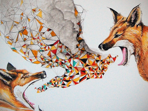 Smoke Signals, Fox, Modern Print, contemporary, wall art, fox print, fox art, wildlife print, open Edition, Giclee Print, Size 18 x 14