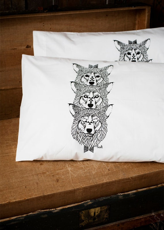 Wolf Totem - Hand Printed Pillow Case Pair - 200tc - by Simka Sol