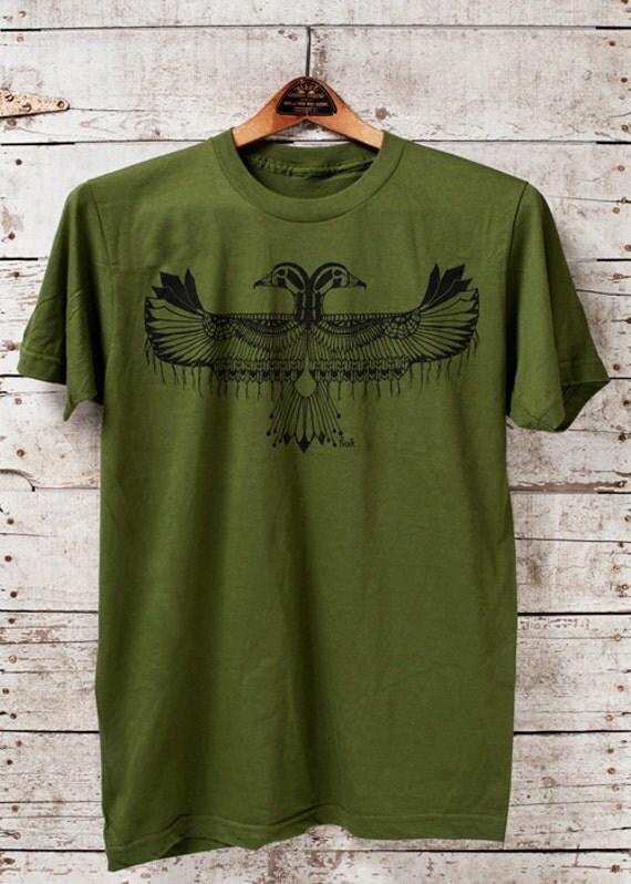 Reverie || unisex olive t-shirt, tribal style tshirt, thunderbird tshirt, jersey tshirt, made in usa || by Simka Sol