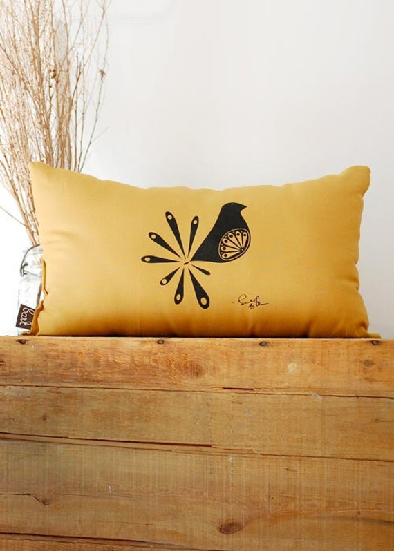 Mod Bird Pillow In Mustard Yellow By Bark Decor