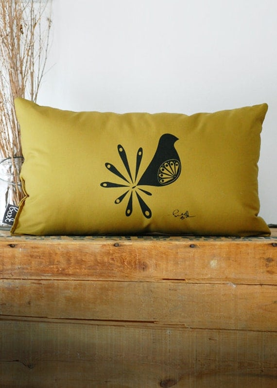 Mod Bird Pillow - in Muted Green - Modern Bird Pillow Green - by Bark Decor