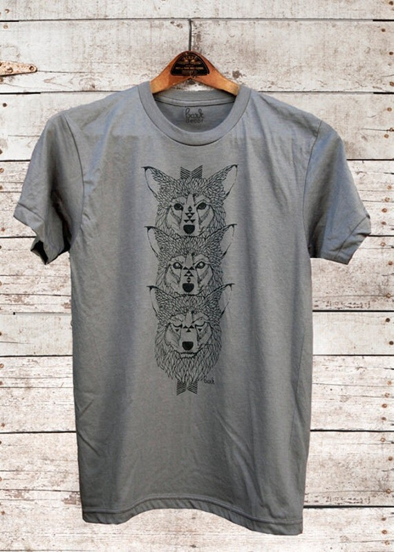 Wolf Totem, wolf t-shirt, hand printed, usa made, mens t-shirt, wolf shirt, wolves, totem, gifts for him, wolf for him, Simka Sol