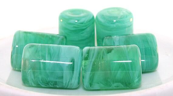 Lampwork Beads, Italian Murano Sea Foam Green Glass Handmade Lampwork Barrel Beads, Hand mixed glass beads,
