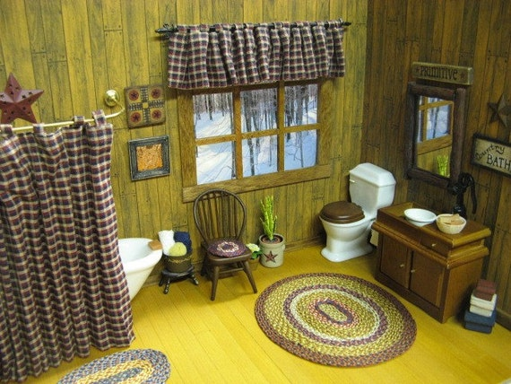 Miniature Dollhouse Tab Shower Curtain And Window Curtain