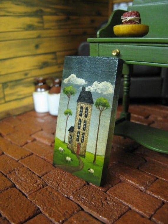 Miniature Saltbox House Dollhouse Primitive Sheep Painting