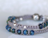 Silk Wrap Bracelet. Macramé. Sterling Silver Beads. Navy Blue Picasso Glass Beads - Raka