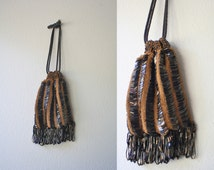 1920s Beaded Reticule / 1920s purse / Butterscotch Flapper purse