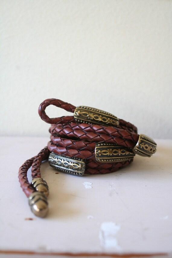vintage BRAIDED brown leather belt