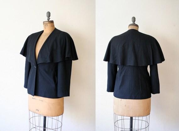 vintage wool coat / cape collar / Cropped Sherlock Coat
