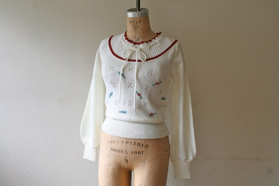vintage 70s Sweater : Forget Me Not