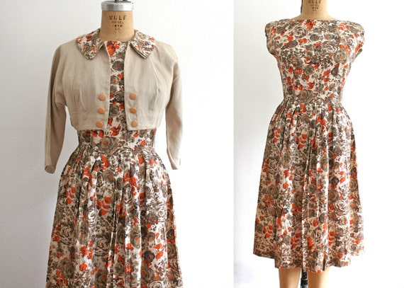 1950s Satin Rose dress : Say you will