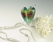 glitter heart necklace, teal heart pendant