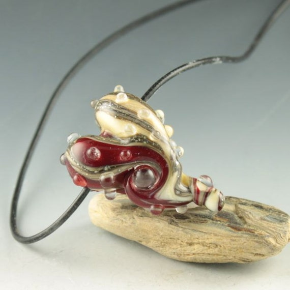 red and ivory heart necklace