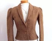 Jacket Blazer / Tweed Jacket / Camel Coat / Cropped Blazer / Suit Jacket / Wool Coat /  Size Small