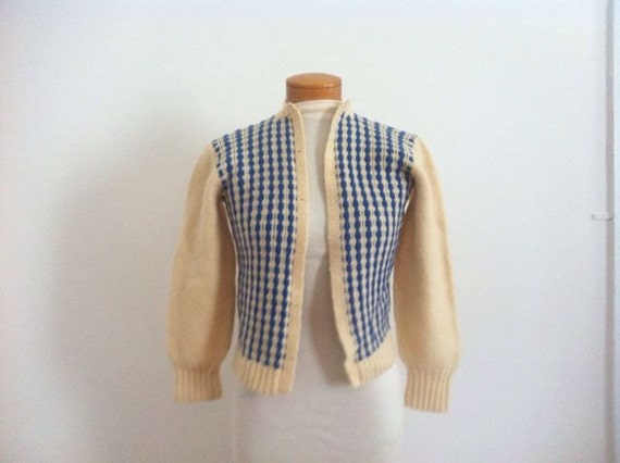 SALE Vintage Wool Sweater / Preppy / Cropped /Wool  Jumper / Cream Blue / Cardigan  / 1950s/1960s / School Girl / Small Extra Small