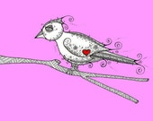 Lovebird - A4 Print - Passion Pink