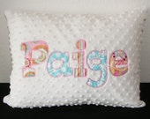 Personalized Pillow, Pink and Turquoise Pillow - YOUR NAME Pillow - Applique Pillow - Your Choice of Colors - Soft Plush Minky Pillow