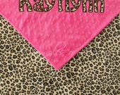 Minky Baby Blanket - Cheetah and Hot Pink - Applique Personalized Blanket - Minky Cheetah Blanket - Cheetah Baby Blanket for Girls