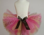 Girls Birthday Tutu - Custom Made SEWN tutu, Pink, Brown and Yellow Tulle, Pick ANY COLORS, size newborn-5T